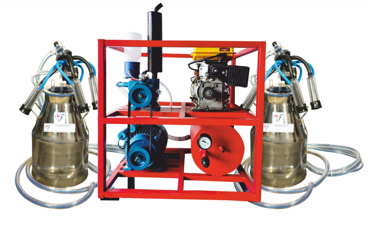 Double Bucket Fixed Pipeline with Engine - Modern Dairy Machine