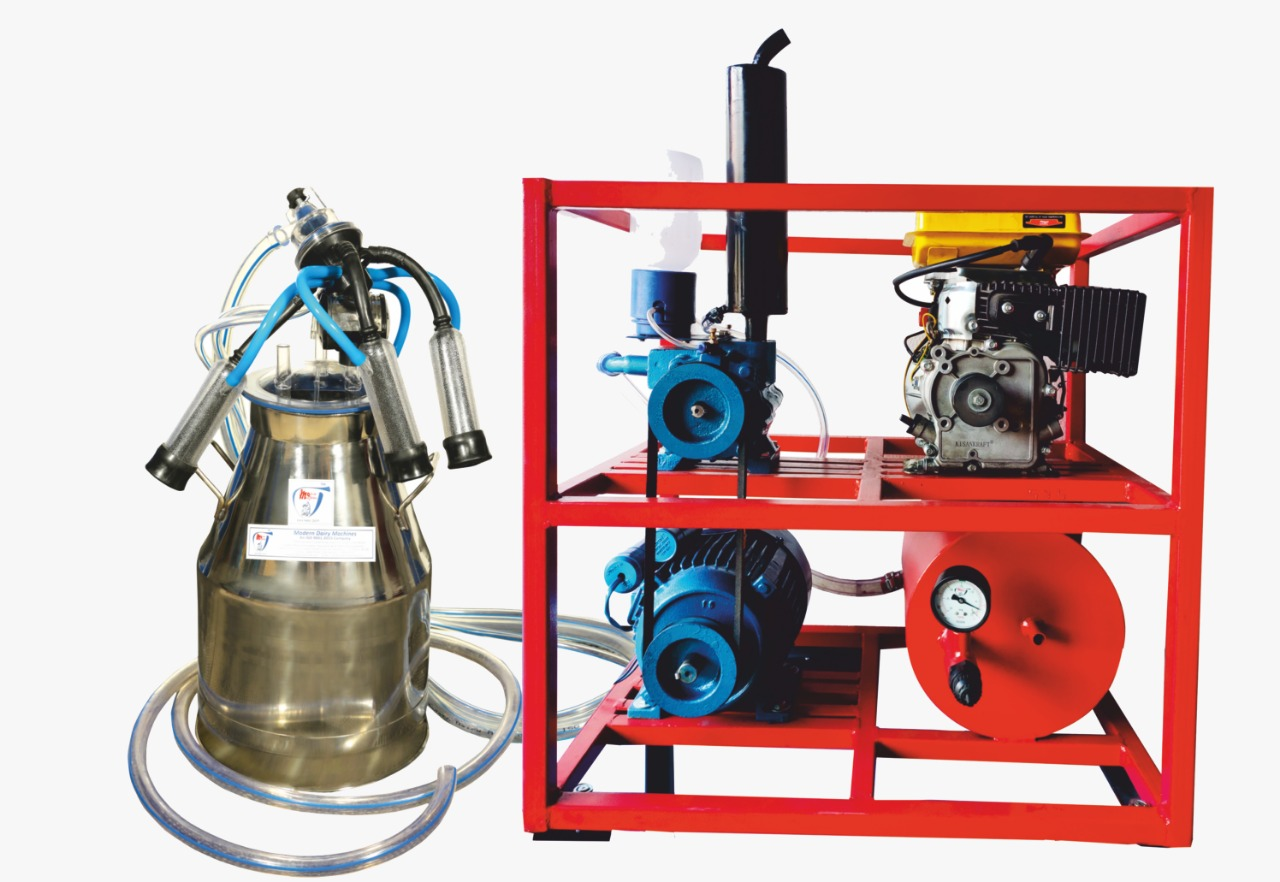 Single Bucket Milking Machine with Fixed Pipeline Engine - Modern Dairy Machine