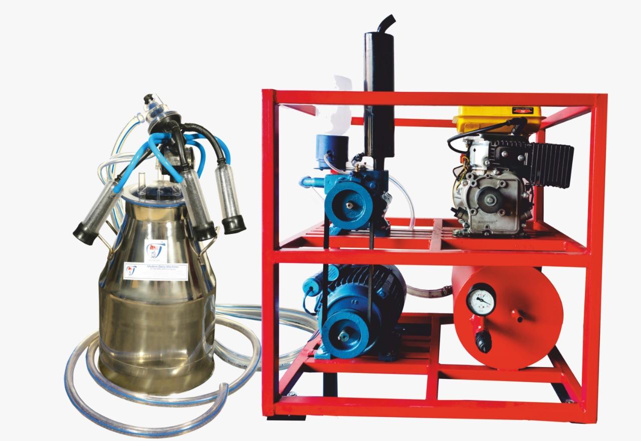 Single Bucket Milking Machine with Fixed Pipeline Engine - Modern Dairy Machine